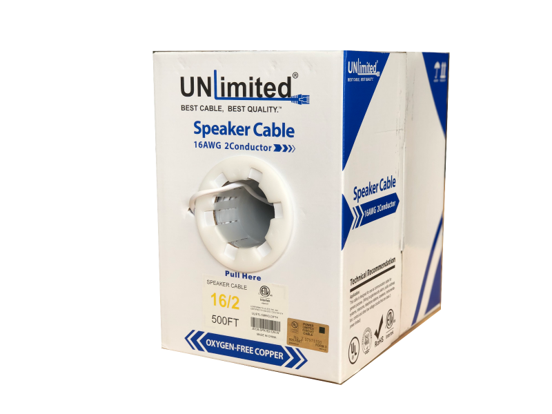 Unlimited JECB-SPK-UL-162-W Speaker Cable 16 AWG 2 Conductor 1000ft.