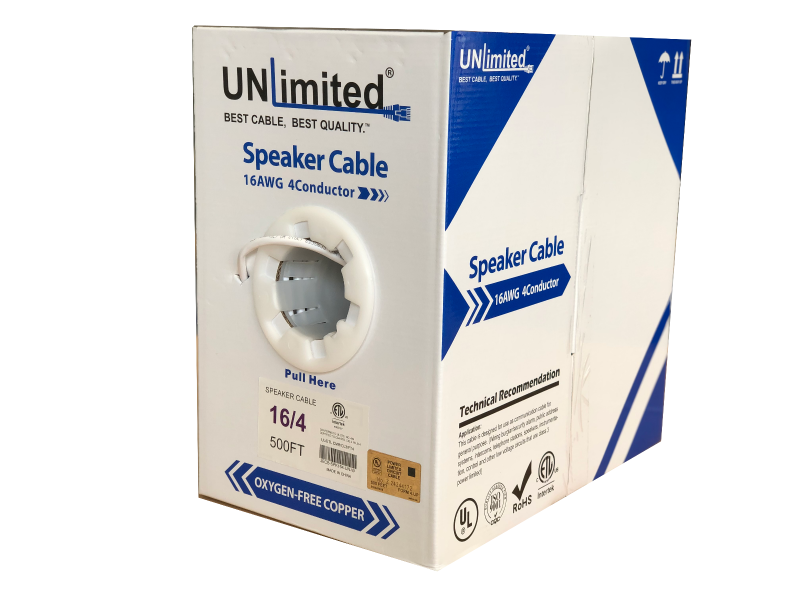 Unlimited JECB-SPK-UL-164-W  Speaker Cable 16 AWG 4 Conductor 1000ft.