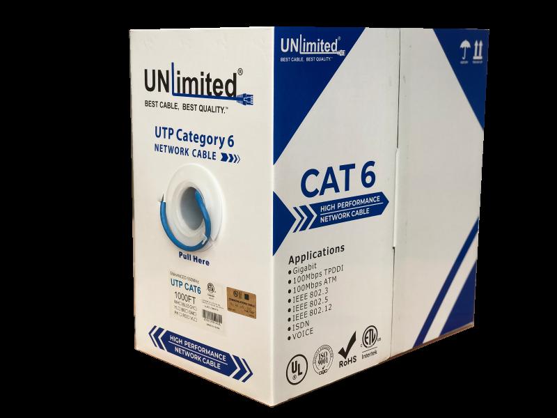 Unlimited JECB-CAT6-UN-BL UTP Cat6 Indoor/550MHz/23AWG/CMR/FT4/ETL/CSA Cable 1000ft. (Indoor)