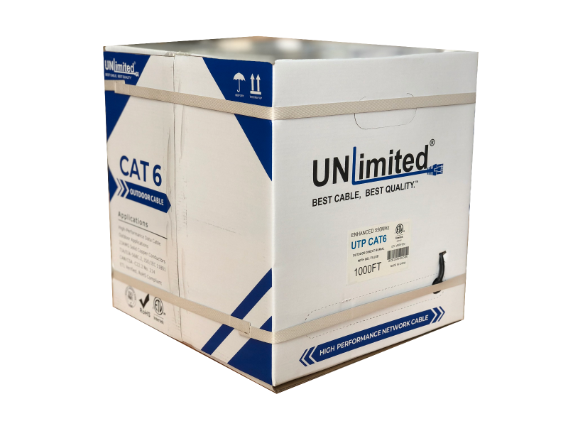 Unlimited JECB-CAT6-O-UL-W/BL UTP Cat6 Outdoor Direct Burial with Gel/550MHz/23AWG/ETL/CSA Cable 1000ft. (Outdoor)