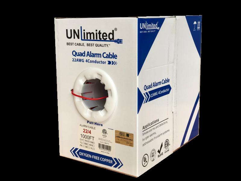 Unlimited JECB-QUAD-Z-UN-R/BN/BE/GN Station Z Alarm Quad Cable/22AWG/CMR/FT4/ETL/CSA 1000ft.