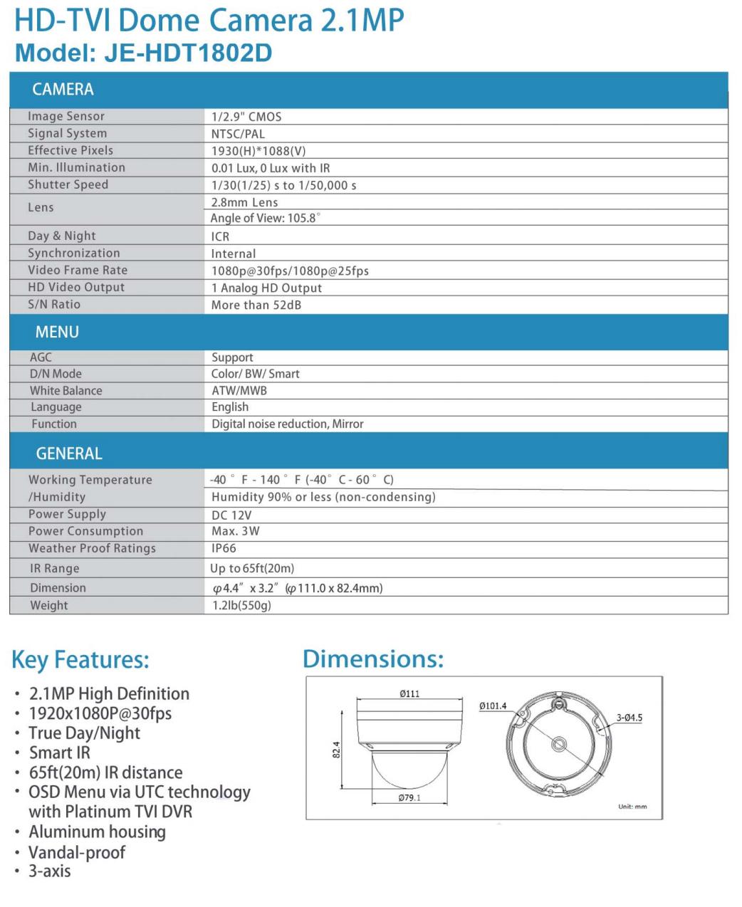 JE-HDT-1802D Data Sheet